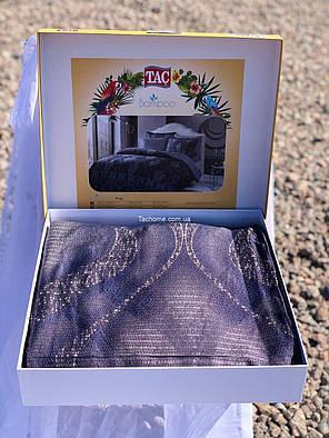 Двуспальный евро комплект TAC Freja Blue Сатин-Бамбук, фото 2