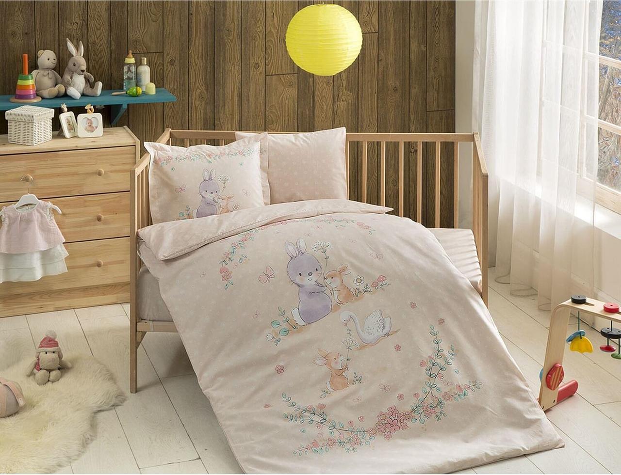 Комплект постельного белья в кроватку TAC Organic Happy Bunny Ранфорс