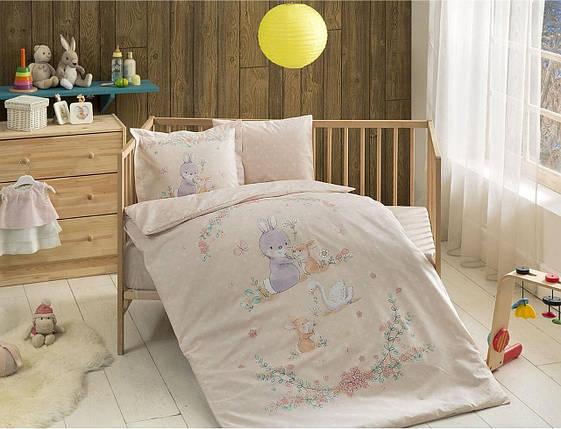 Комплект постельного белья в кроватку TAC Organic Happy Bunny Ранфорс, фото 2