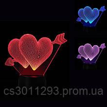 3D Светильник Сердца 13-9