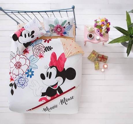 Двуспальный евро комплект TAC Disney M&M Watercolor Ранфорс / простынь на резинке, фото 2