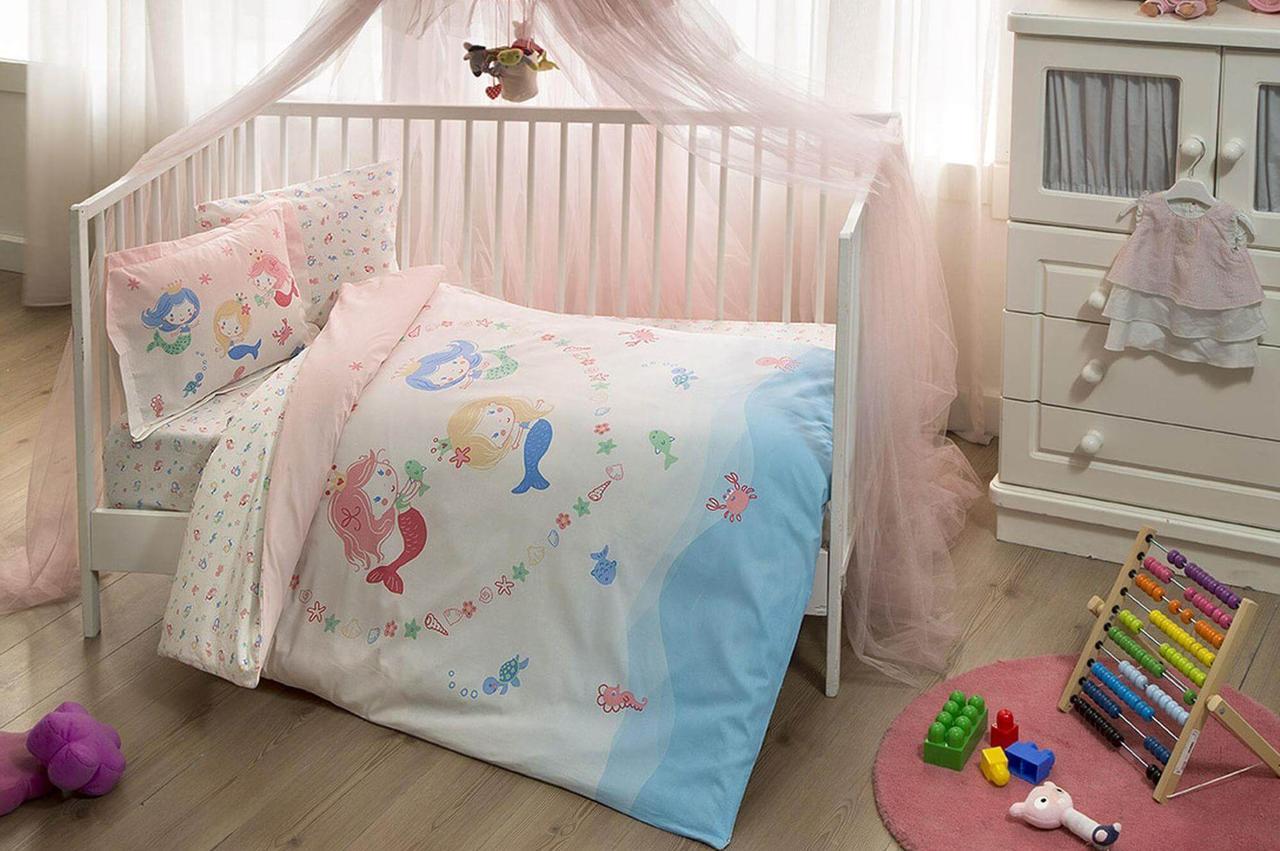 Комплект постельного белья в кроватку TAC Mermaid Pink Ранфорс