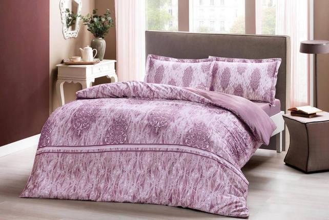 Двуспальный евро комплект TAC Elise Pink Сатин, фото 2