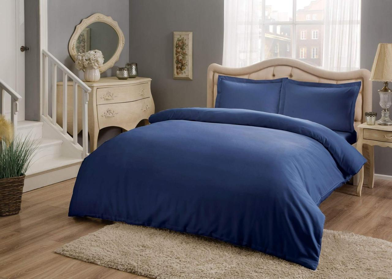 Двуспальный евро комплект TAC Basic Blue Сатин