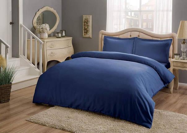 Двуспальный евро комплект TAC Basic Blue Сатин, фото 2