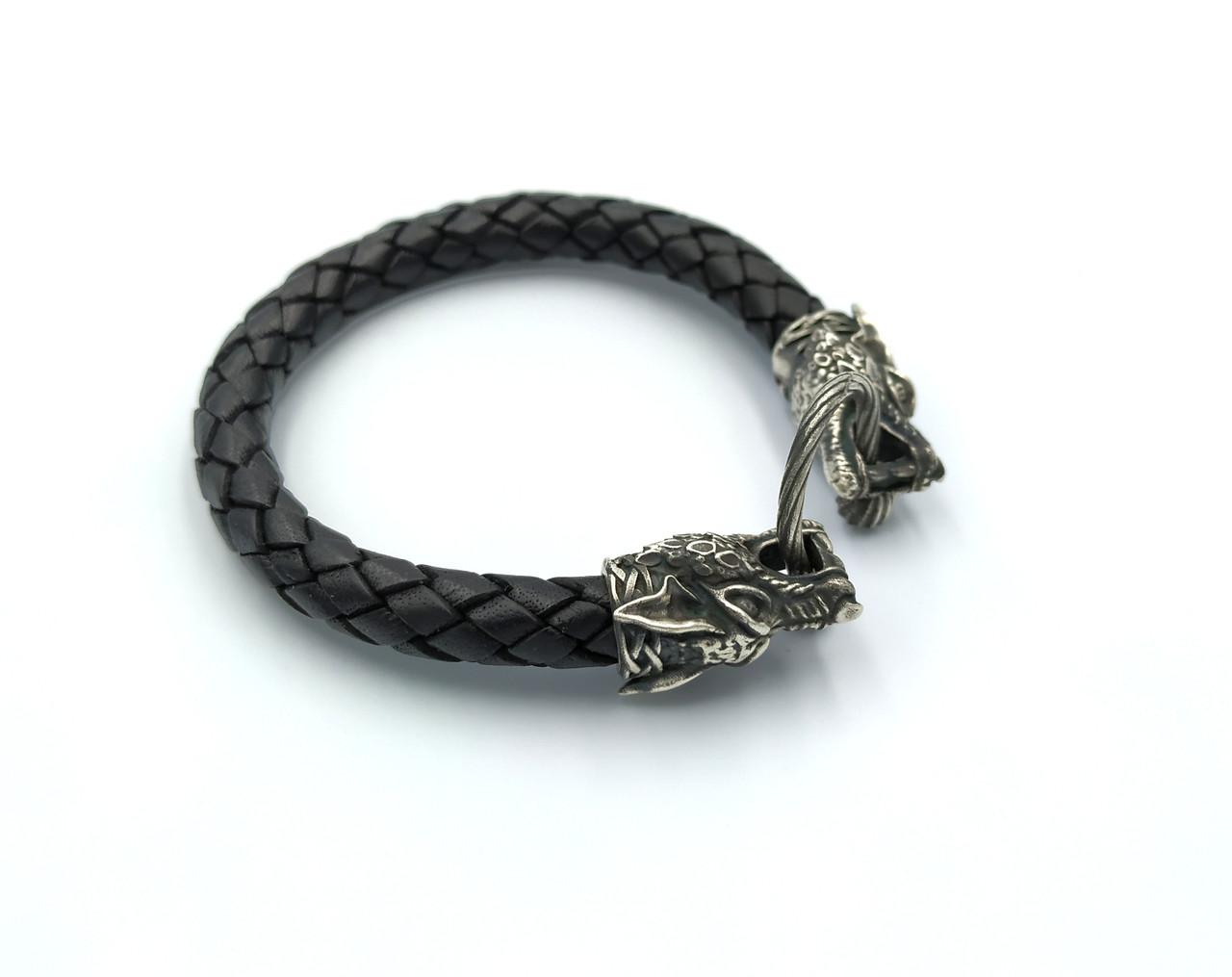 Шкіряний браслет з вовками чоловічий срібло