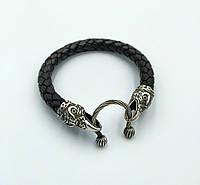 Шкіряний браслет Ворон чоловічий срібло, фото 1
