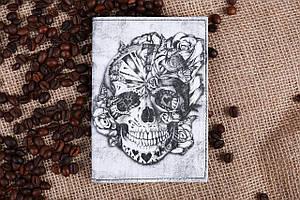 Обкладинка для паспорта «Череп квітковий»