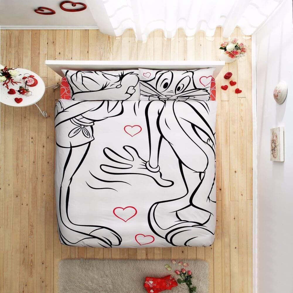 Двуспальный евро комплект TAC Disney Bugs Bunny & Lola Ранфорс / простынь на резинке