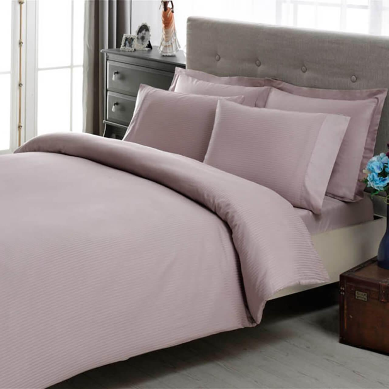 Двуспальный King Size комплект ТАС Premium Basic Lila Сатин-Stripe