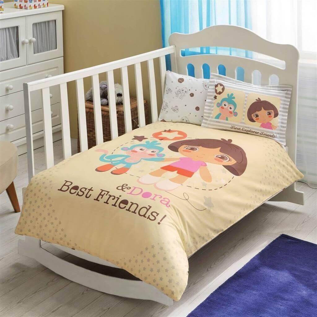 Комплект постельного белья в кроватку TAC Dora Best Friends Baby Ранфорс
