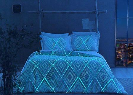 Двуспальный евро комплект ТАС Gina Blue Сатин+светится в темноте, фото 2