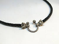 Шкіряний шнур козел срібло, фото 1