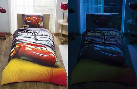 Детский и подростковый комплект TAC Cars Lightning Mcqueen Ранфорс простынь на резинке+светится в темноте, фото 2