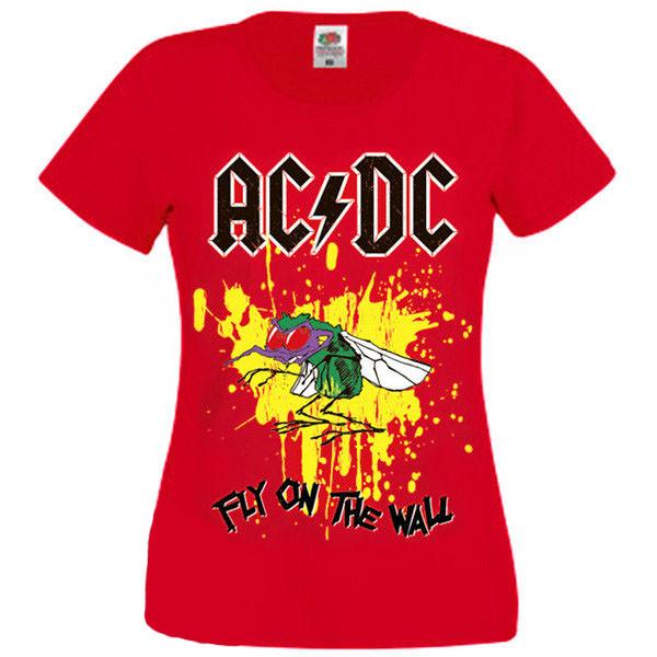 Футболка жіноча AC/DC - Fly On The Wall - червона