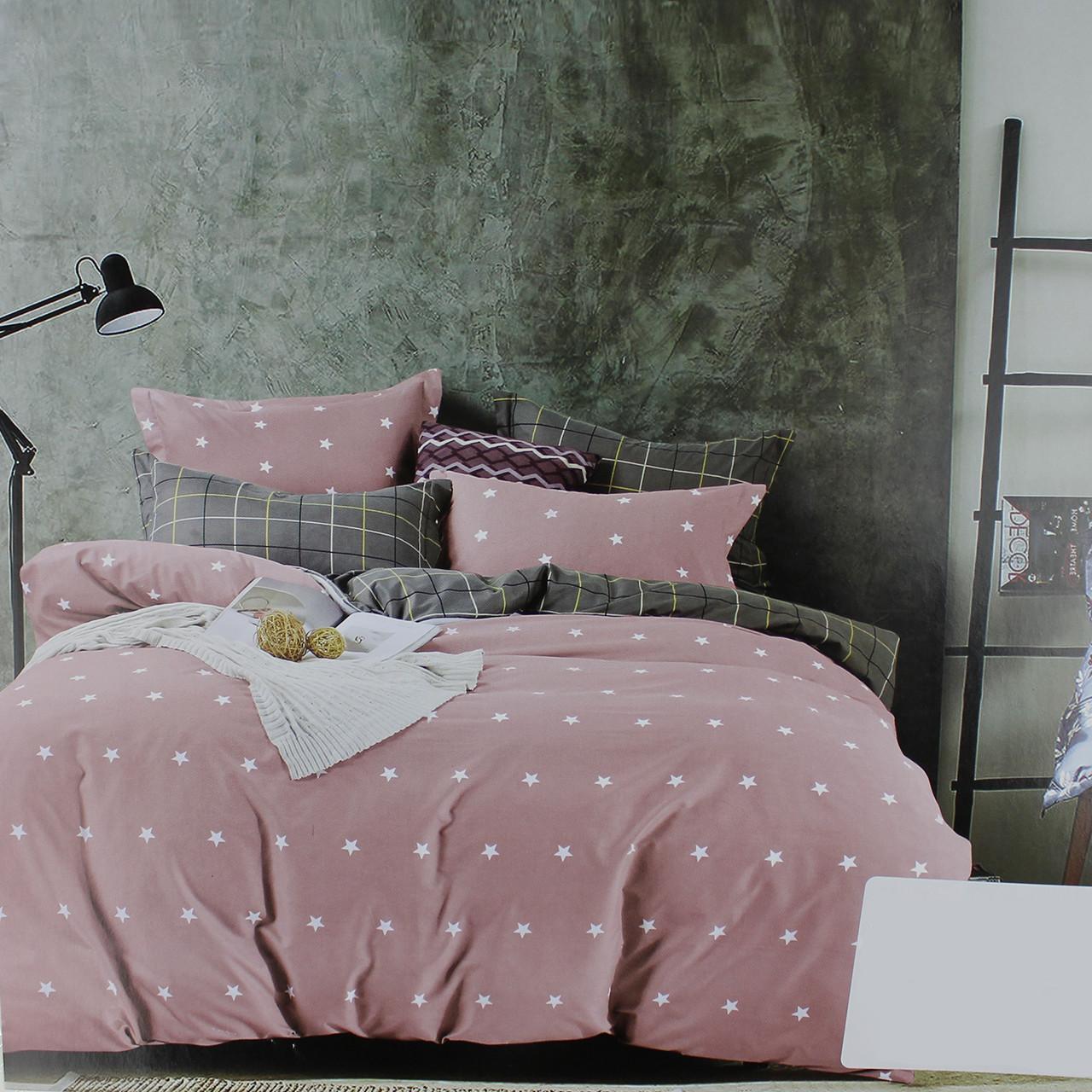 Комплект постельного белья евроразмер сатин розовый Звезды Koloco