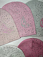 Шапка для девочки Демисезонная бабочкой стразы Размер 52-55 см Возраст 5-10 лет, фото 9