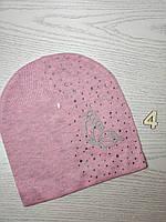 Шапка для девочки Демисезонная бабочкой стразы Размер 52-55 см Возраст 5-10 лет, фото 7