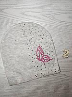 Шапка для девочки Демисезонная бабочкой стразы Размер 52-55 см Возраст 5-10 лет, фото 5
