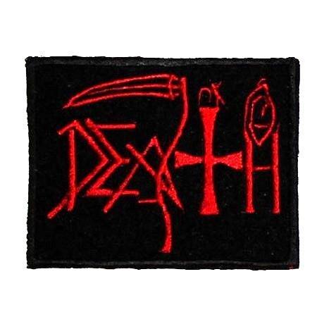 DEATH-1 (червоне лого) - нашивка з вишивкою
