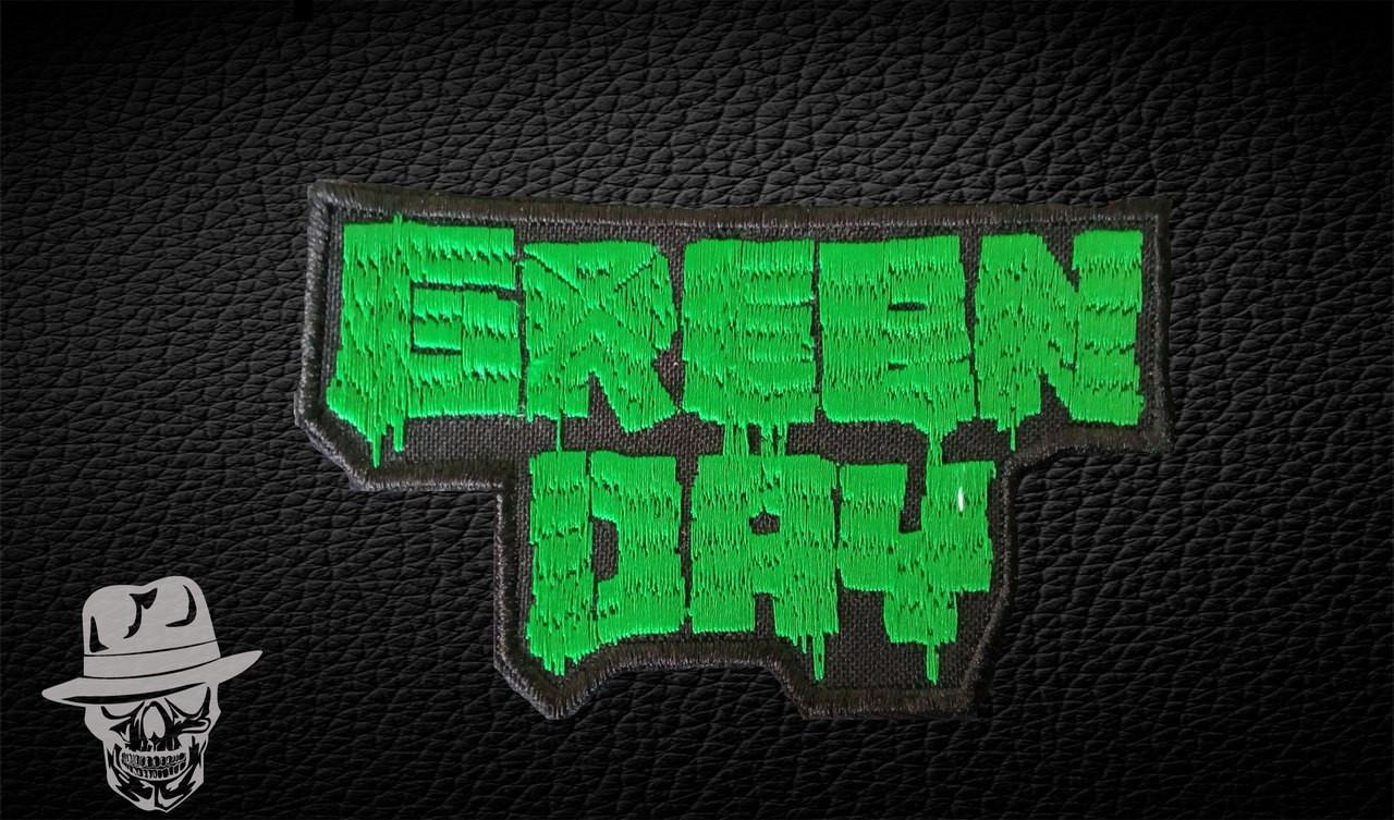 GREEN DAY-2 (зелений) - нашивка з вишивкою