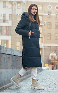 Черная зимняя длинная куртка