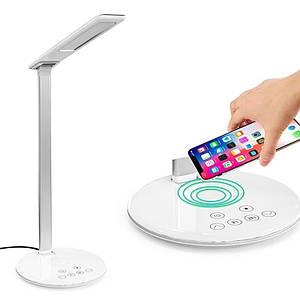Настольная ЛЕД лампа-светильник 3в1 на гибкой стойке с беспроводной зарядкой USB-порт