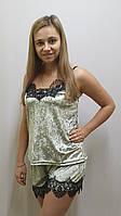 Пижама велюровая с шортами с французским кружевом 243-1