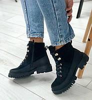 Ботинки женские черные замшевые с кожаными вставками, фото 1