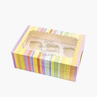 Упаковка для 6 кексов и маффинов - Радуга - 255х180х90 мм, фото 1