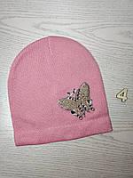 Шапка для дівчинки Демісезонна  з метеликом Люрекс Стрази  Розмір 50-52 см Вік 4-8 років, фото 7