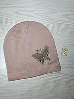 Шапка для дівчинки Демісезонна  з метеликом Люрекс Стрази  Розмір 50-52 см Вік 4-8 років, фото 5