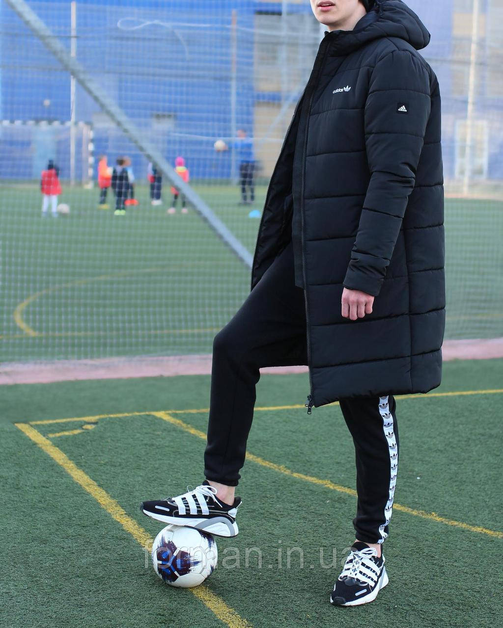 Мужская удлинённая зимняя куртка с капюшоном чёрная