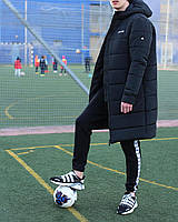 Мужская удлинённая зимняя куртка с капюшоном чёрная, фото 1