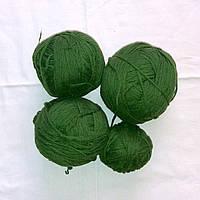 Пряжа зеленая шерсть, нитки для вязания 300-400 гр