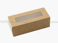 Упаковка для макаронс с прозрачным окошком - Крафт - 141х59х49 мм, фото 1