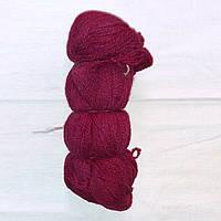 Пряжа малиновая, шерсть, нитки для вязания 1 моток 100гр