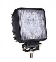 Светодиодная лэд фара. Дополнительный свет. LED фара квадратная, 9 диодов. Гарантия 12 мес.