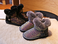 Дитячі зимові чоботи для дівчаток / Детские зимние сапоги для девочек, противоскользящая непромокаемая обувь