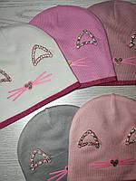 Шапка для дівчинки Демісезонна  з вушками стрази киця Розмір 48-50 см Вік 2-4 роки, фото 9