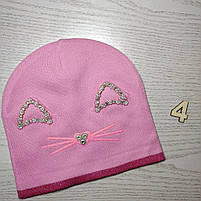 Шапка для дівчинки Демісезонна  з вушками стрази киця Розмір 48-50 см Вік 2-4 роки, фото 7