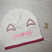 Шапка для дівчинки Демісезонна  з вушками стрази киця Розмір 48-50 см Вік 2-4 роки, фото 6