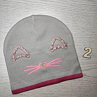 Шапка для дівчинки Демісезонна  з вушками стрази киця Розмір 48-50 см Вік 2-4 роки, фото 5