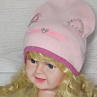 Шапка для дівчинки Демісезонна  з вушками стрази киця Розмір 48-50 см Вік 2-4 роки, фото 3