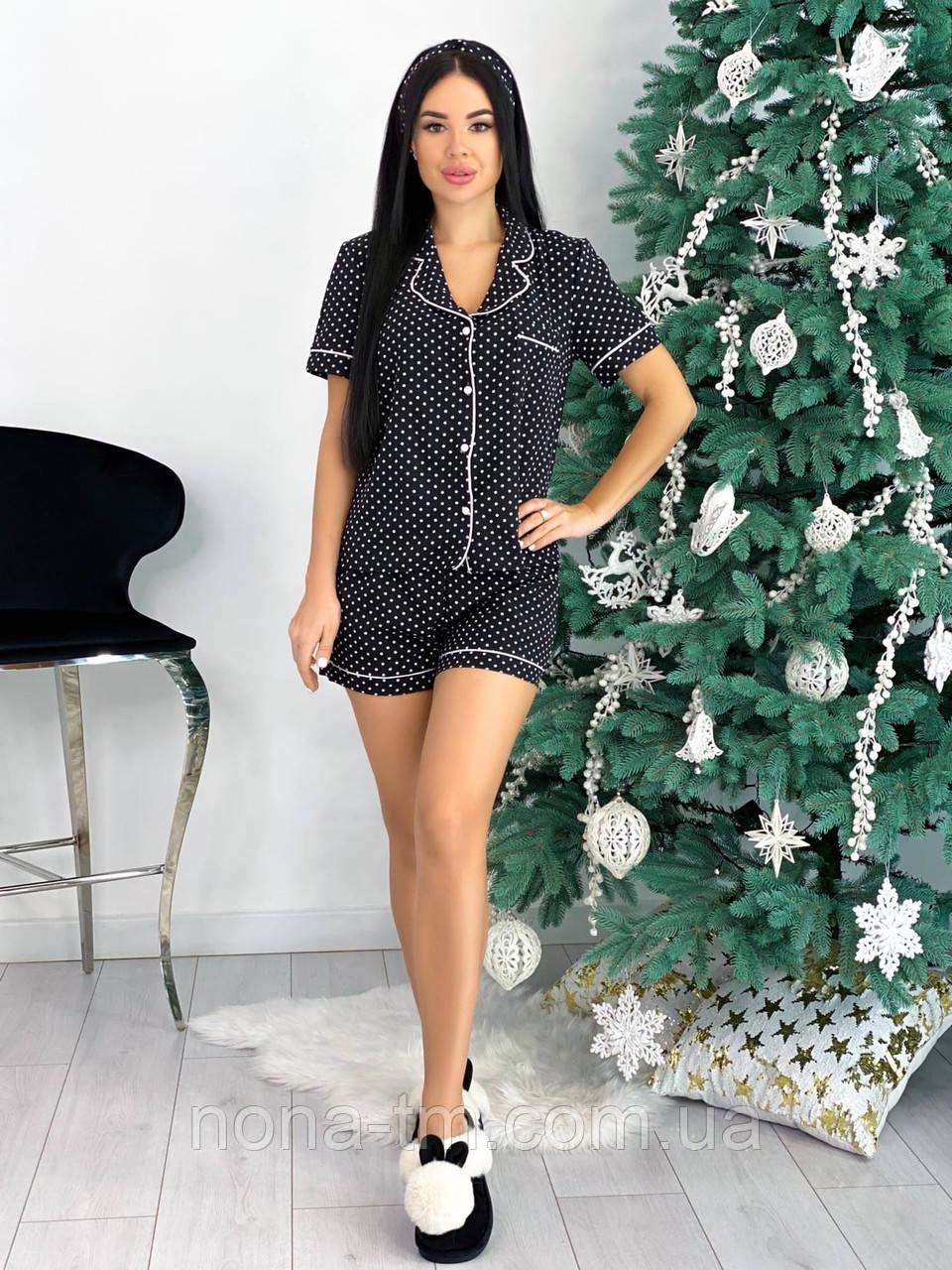 Женская пижама с шортами из легкой ткани (Норма, Батал)