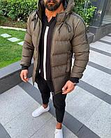 Мужская куртка теплая с капюшоном хаки