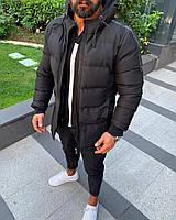 Мужская куртка теплая зимняя с капюшоном черная
