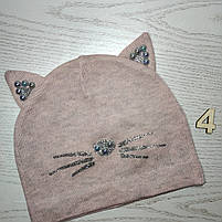Шапка для девочки Демисезонная с ушками киса Бусинка Размер 48-50 см Возраст 2-4 года, фото 7