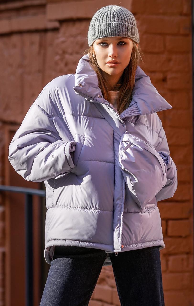 Зимняя куртка Николь без капюшона с сумкой 42-48 р