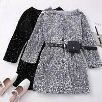 Платье женское стильное мини в пайетках со съемным ремешком-кошельком